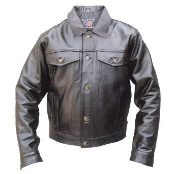 Black leather denim jacket