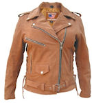 womans brown leather motorcycle jacket