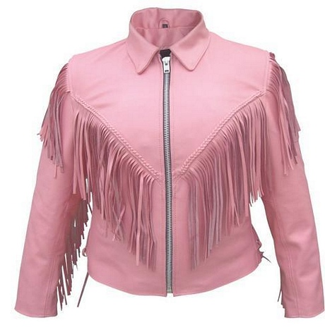 Ladies pink fringe leather motorcycle jacket