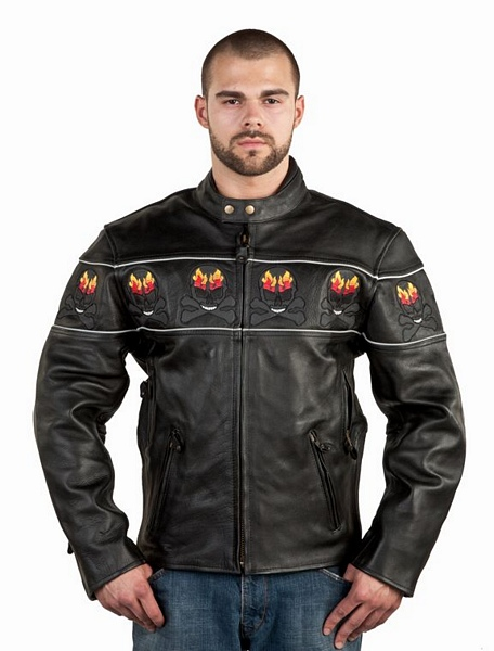 Mens leather racer jacket with flaming skull design