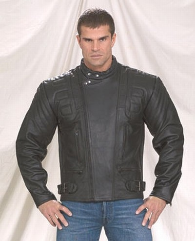 mens blue leather racer jacket