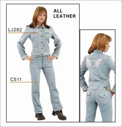 Ladies Denim look leather pants
