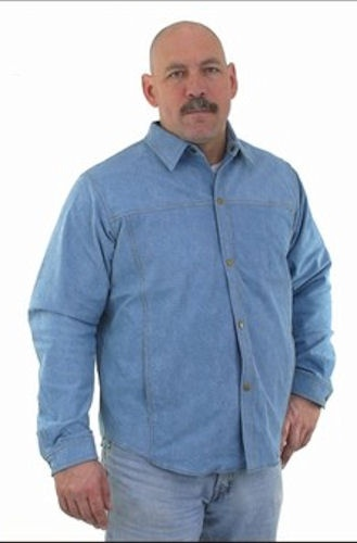 mens denim look real leather shirt