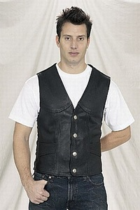 mens nickel snap leather vest
