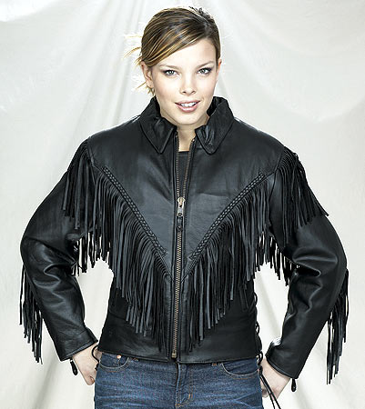 womens leather fringe jacket