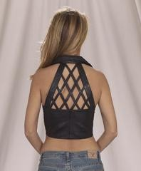 Diamond back leather halter top