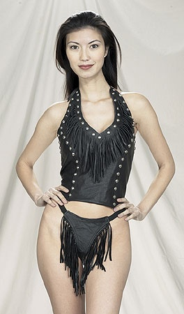 leather halter top with fringe and studs