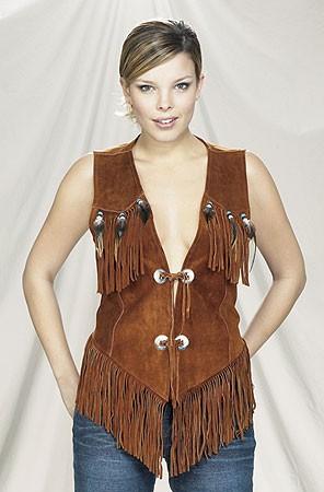 Brown western suede leather fringe vest