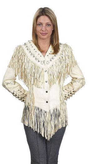 Ladies white fringe leather jacket