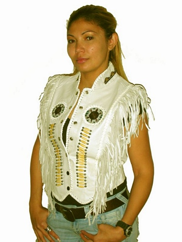 ladies fringe leather vest