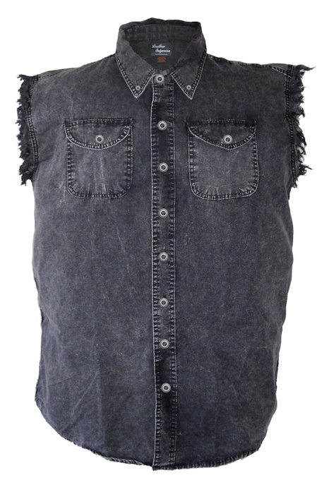 Mens Acid Washed Zombie Girls Denim Sleeveless Cutoff Biker Shirt