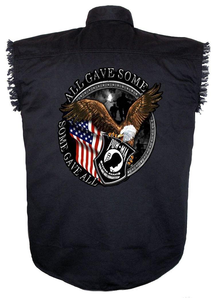 mens patriotic powmia eagle american flag denim twill