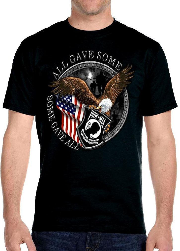 36433c99b ... mens pow mia patriotic veterans american flag eagle on hanes beefy t ...