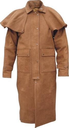 mens brown leather duster jacket with cape