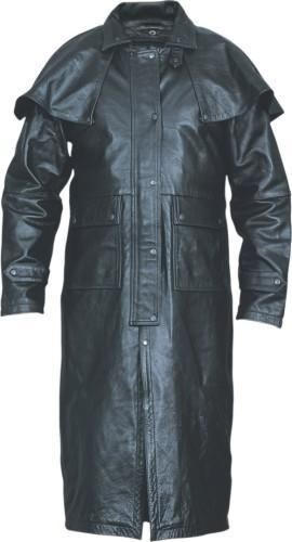 Mens black buffalo leather duster coat