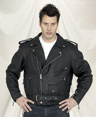 men\'s leather motorcycle jacket