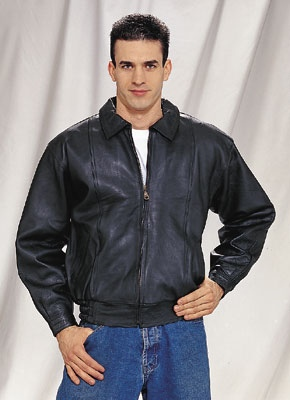 Mens leather bomber jacket