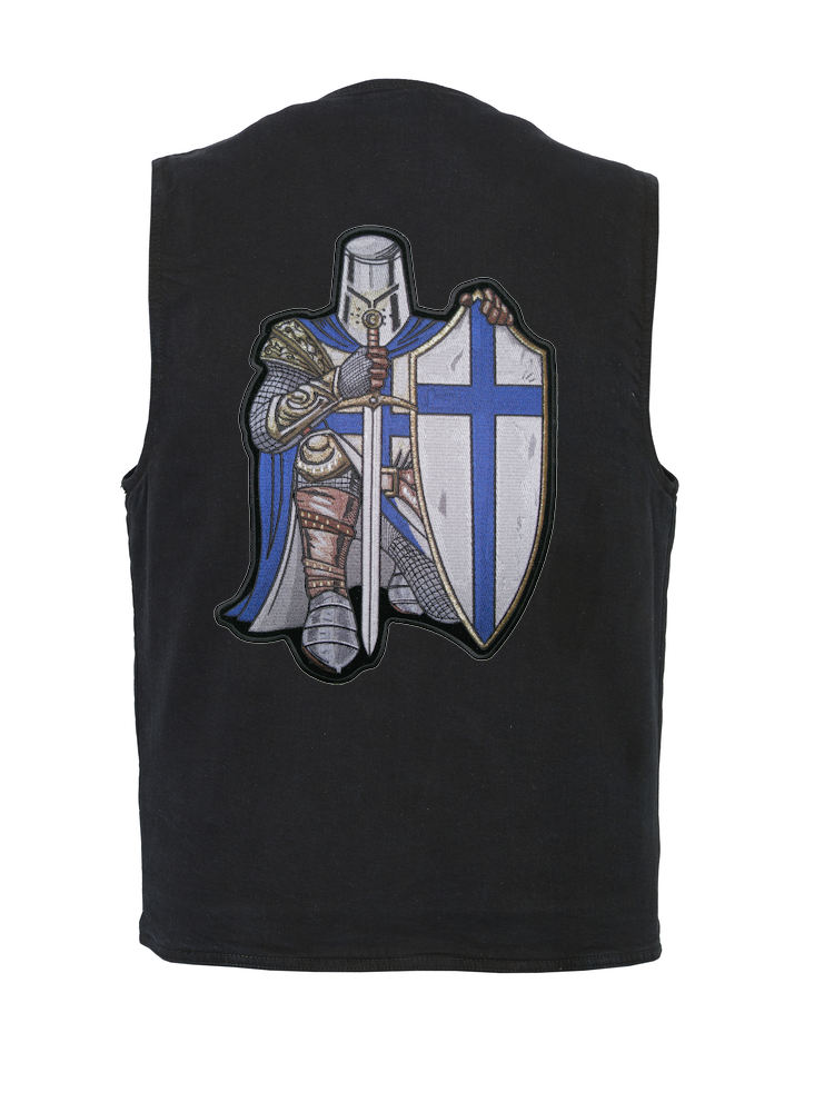 ca4a774b8353f Details about Mens Concealed Carry Denim Vest W Blue Christian Crusader  Knight Patch