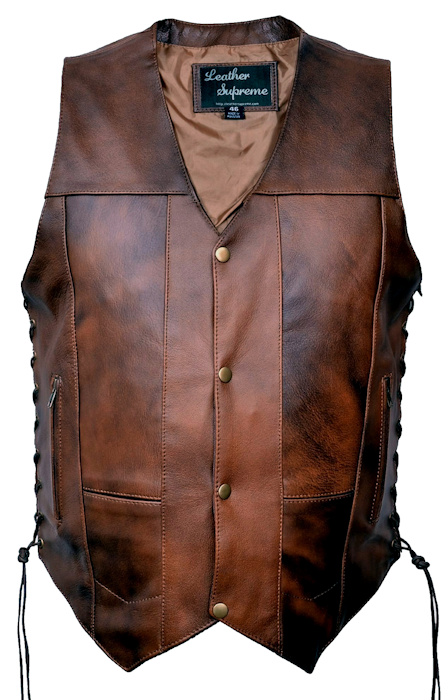 mens tall size retro brown leather vest