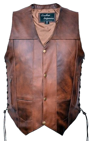 Mens retro brown leather vest