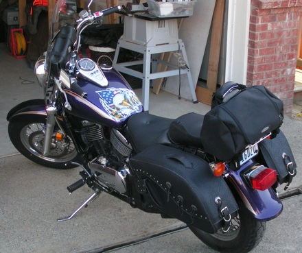 Fully outfitted motorcycle with leather motorcycle bags
