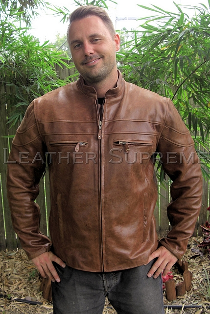 mens retro brown leather racer jacket