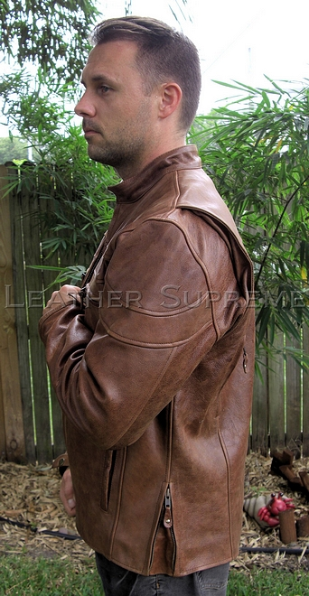 brown cafe leather jacket