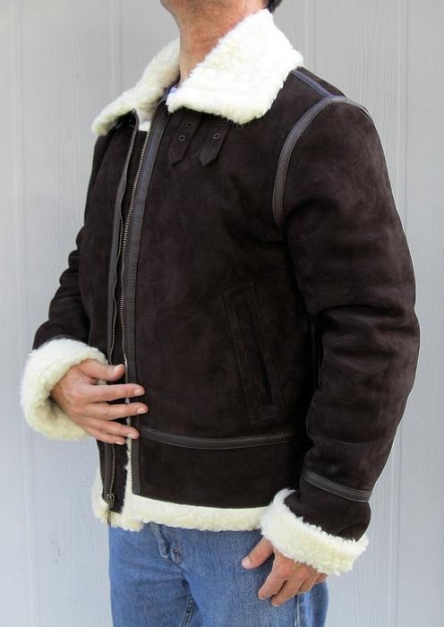 Mens Sheepskin Shearling Coat Brown Mink Fur Trim Collar CW877039