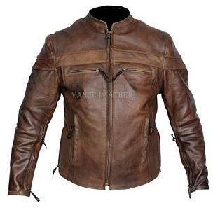 Mens brown retro racer leather jacket