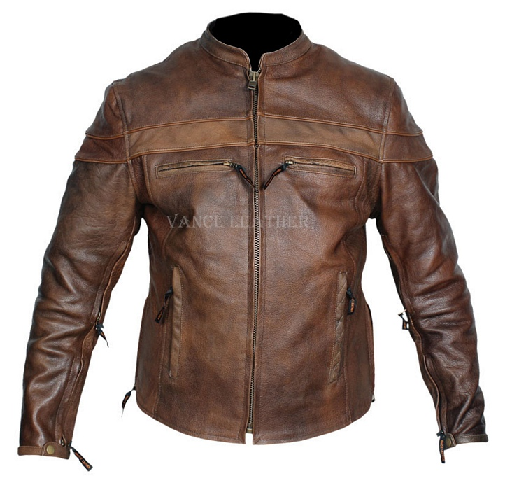Mens retro brown top grain leather racer motorcycle jacket zip out ...