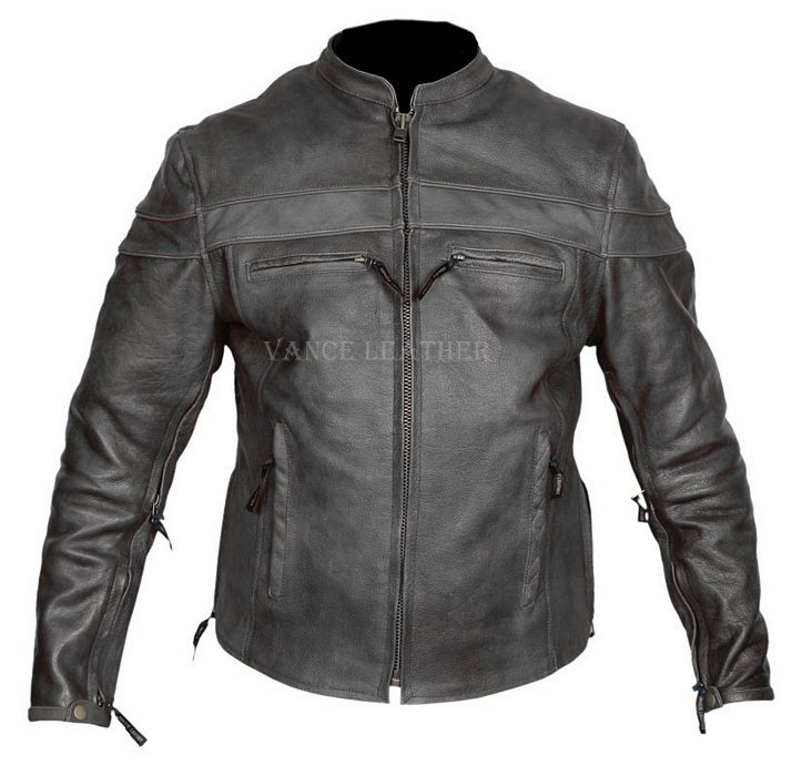 Top Man Mens Leather Jackets with Knit Sleeve