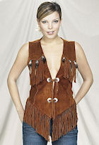 ladies brown suede leather vest