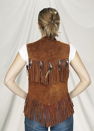 Womans brown suede leather vest