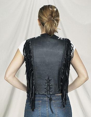 Womans fringe leather vest