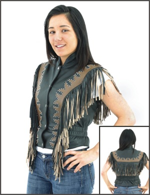 Womans flame leather vest