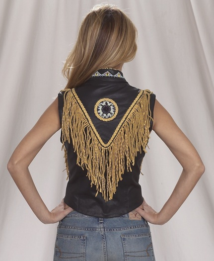 Womans Indian leather vest with beads, bone