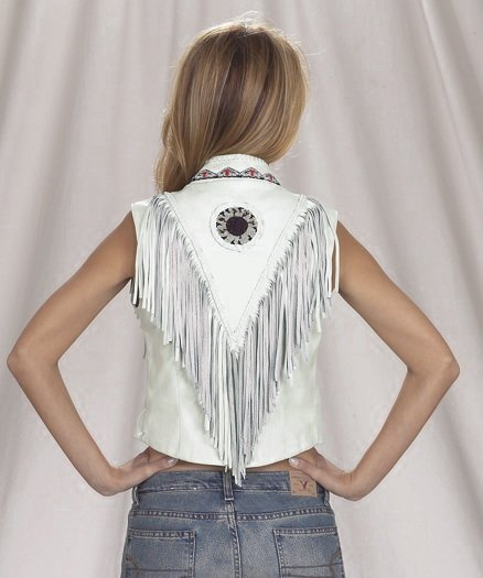 Womans western white leather vest with beads, bone