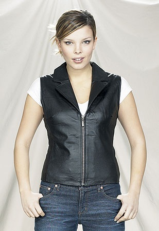Womens leather vest with collar and zipper front