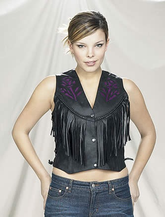 Womans fringe purple rose leather vest