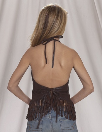 Womans brown leather vest with beads, bone