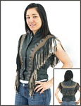 womens brown fringe leather vest