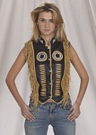 Ladies golden leather vest