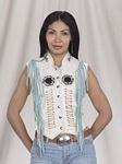 Womens white fringe leather vest
