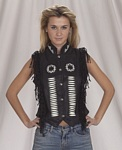Black fringe leather vest