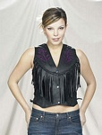 Womens purple rose leather vest