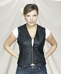 Ladies zipper leather vest