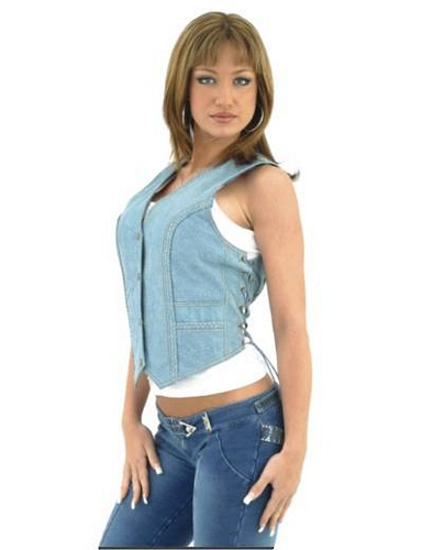 Womans denim leather vest