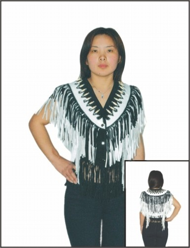 Womans western white and black leather vest with beads, bone