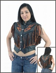 Womens orange flame leather vest