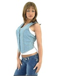 womans leather denim vest